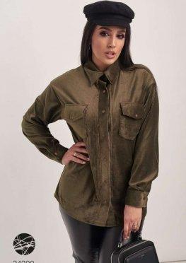 Вельветовая рубашка с накладными карманами