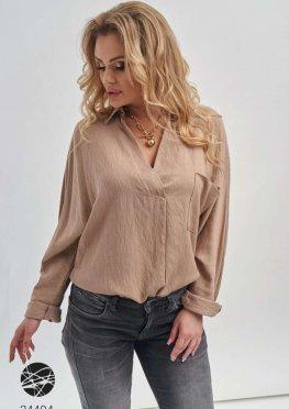 Льняная рубашка с V-образным вырезом
