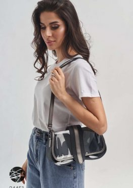 Прозрачная сумка на плечо с отстегивающимся клатчем
