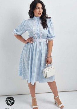 Платье миди с принтом в горошек