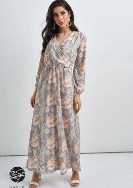 Платье с запахом и цветочным принтом