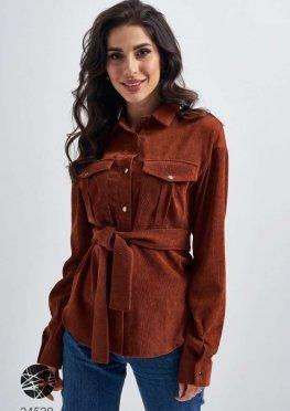Вельветовая рубашка с поясом