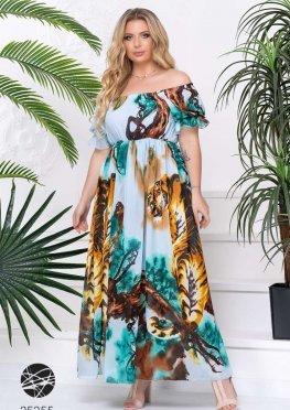 Платье макси со звериным рисунком