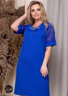 Платье с рукавами из гипюра