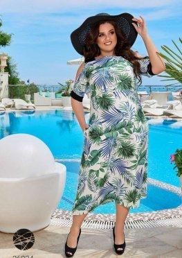 Льняное платье миди с тропическим принтом