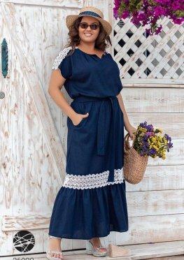 Льняное платье макси со вставками из кружева