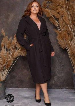 Кашемировое пальто миди с поясом