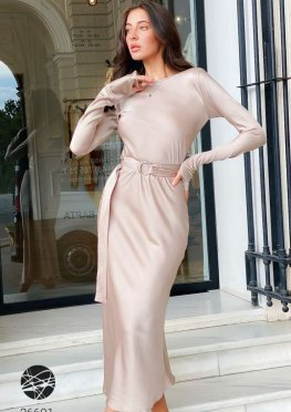 Шелковое платье миди с поясом