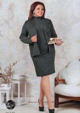 Твидовый комплект из платья-водолазки и жакета