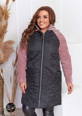 Удлиненная куртка из комбинированных материалов