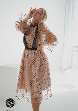 Платье миди с принтом в горох
