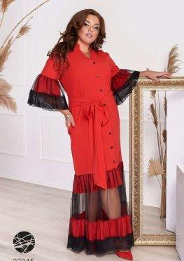 Платье макси со вставками из сетки