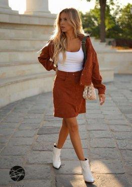 Вельветовый комплект из рубашки и юбки мини