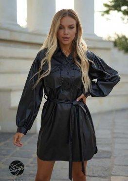 Платье-рубашка мини из искусственной кожи