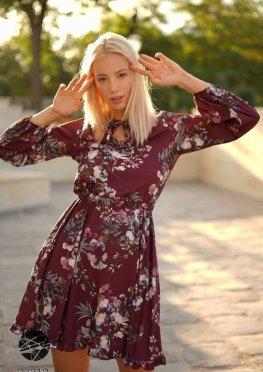 Платье мини с цветочным принтом