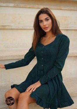 Вельветовое платье мини с планкой на пуговицах