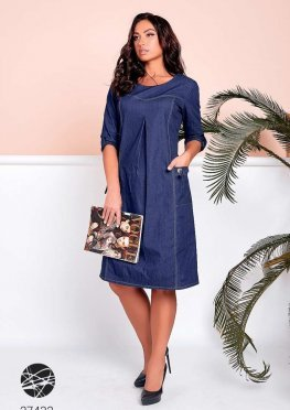 Джинсовое платье с отделкой контрастной строчкой