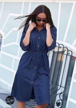 Джинсовое платье-рубашка миди