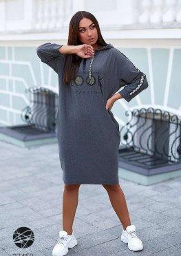 Платье-худи с принтом