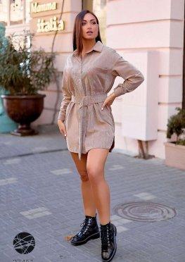 Вельветовое платье-рубашка