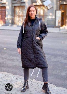 Стёганная куртка миди с капюшоном