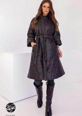 Стёганное пальто миди