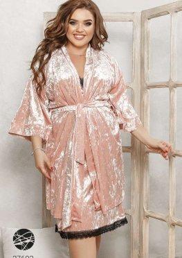 Велюровый комплект из ночной сорочки и халата