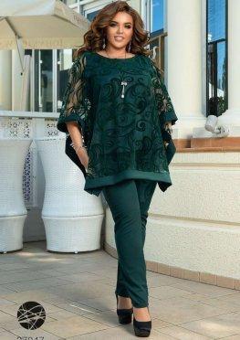 Брючный костюм с блузой с рукавами кимоно