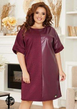 Платье из замша со вставкой из искусственной кожи