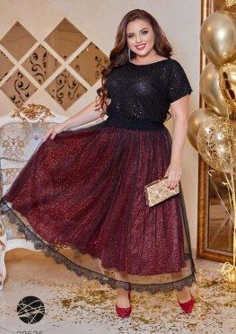 Комплект из блузы с отделкой пайетками и юбки миди