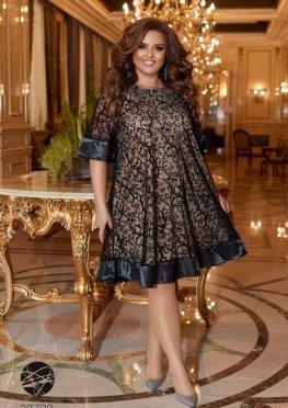 Платье А-силуэта с фактурным принтом