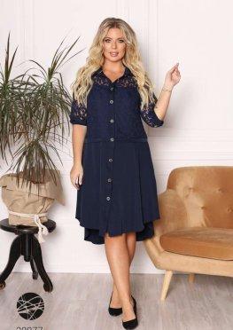 Платье-рубашка с асимметричным нижним краем
