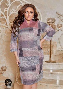 Платье с воротом-стойкой и принтом