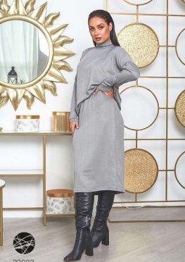 Комплект из свитера с высоким воротом и юбки миди