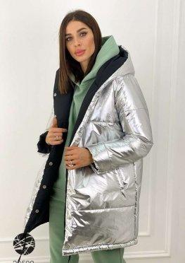 Двухсторонняя куртка с эффектом металлик