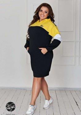Платье-худи в стиле колор блок