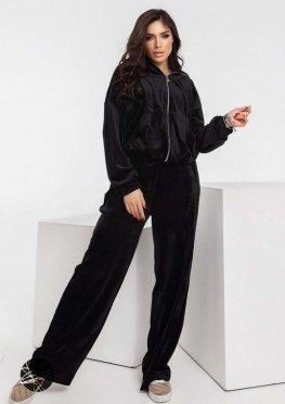 Велюровый костюм из топа, олимпийки и брюк-палаццо