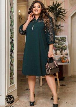 Платье А-силуэта с рукавами из сетки