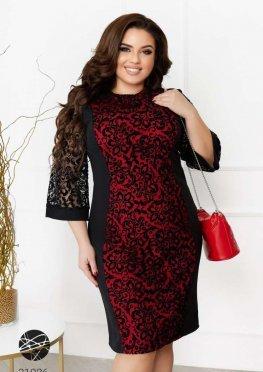 Платье с отделкой сеткой с фактурным принтом