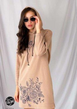 Оверсайз сукня-худі з принтом