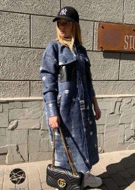 Пальто-рубашка оверсайз с накладными карманами