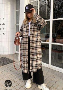 Кашемировое пальто-рубашка с принтом в клетку