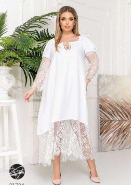 Платье миди с отделкой кружевом