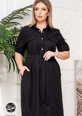 Льняное платье-рубашка с поясом