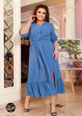 Платье-рубашка миди с оборкой