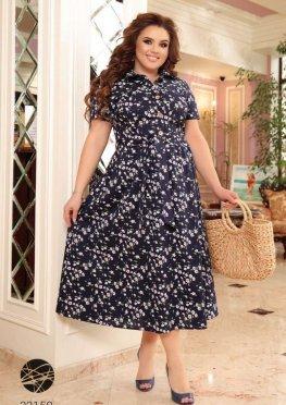 Платье-рубашка миди с цветочным принтом