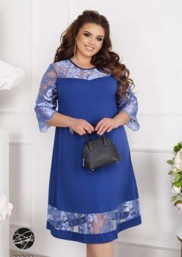 Платье миди со вставками из сетки