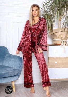 Бархатный комплект из майки, брюк и халата