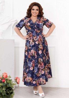 Платье макси с запахом и цветочным принтом