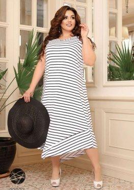 Сукня міді з принтом в смужку